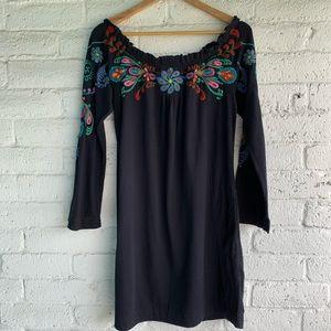 Johnny Was | Black Embroidered Off Shoulder Dress